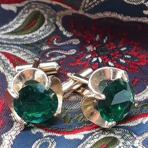 Vintage Colossal Green Rhinestone Cuff Links